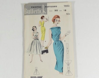 50s Boat Neck Dress Pattern - Butterick 7653 Size 12 - Vintage 1950s Dress Pattern - Bateau Neck Sheath Dress