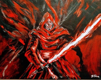 Star Wars Painting on Canvas - Kylo Ren with Light Saber