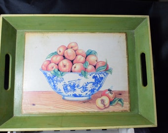 Vintage Wood Serving Tray,  Vintage Wooden Tray, Vintage Serving Tray, Fruit serving tray Peaches serving tray