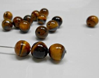 15 Tigereye Semi - Precious Gemstone Rounds, 8mm Rounds, Beads, Gemstone, Bead Supplies, Jewelry Supplies, Jewelry Making