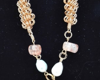 Mother of Pearl, Fresh Water Pearl, Citrine and Calcite Chain Necklace