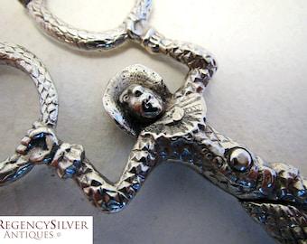 Rare German/Hanau Novelty Monkey Harlequin Tongs Antique SOLID SILVER Sugar Nips/Scissors. Early 20th-century.