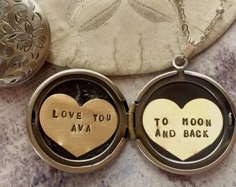 Collier personnalisé, t'aime jusqu'à la lune et dos, collier prénom, le message nom personnalisé, cadeau pour elle, collier médaillon coeur