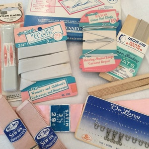 Vintage Sewing Item Collection, Pink and Blue, Sweet! 10 Pieces, Instant Collection