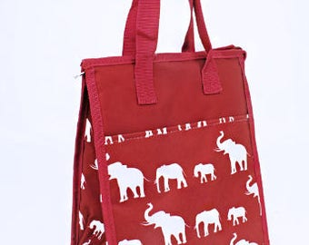 Personalized Girls Insulated Lunch bag, ELEPHANT Lunch Bag, Red Elephant Lunch Bag