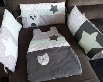ORDER time 15 round bed and sleeping bag set green water/dark grey star and OWL