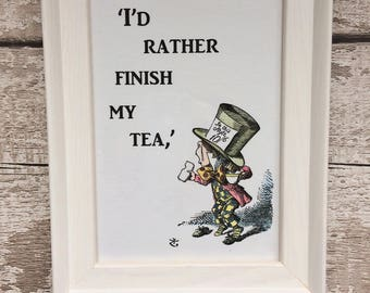 Alice in Wonderland Mad Hatter Print with Quotation, Hand-coloured, Framed (White)