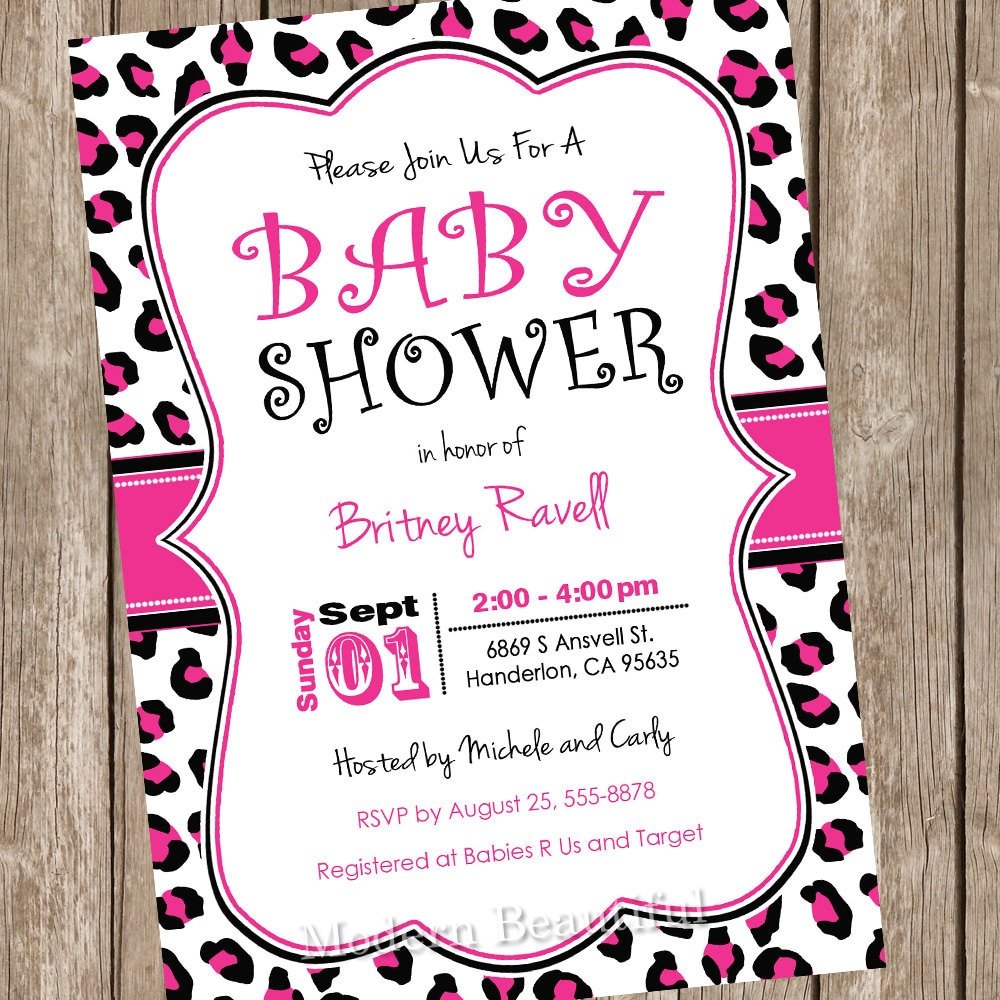 Hot Pink and Black leopard girl baby shower invitation