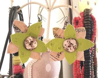 Green faux leather Flower Earrings