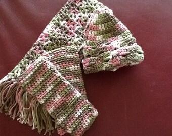 Girls Glove Scarf Hat Set / Scarf Hat Gloves / Fingerless Glove Set / Bootsandbelle