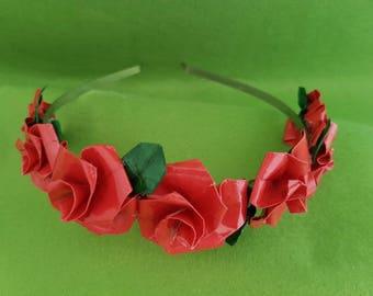 Red Rose flower Crown, red Rose headband, red Rose, Rose tiara, flower tiara, flower tiara Crown, wedding headband, wedding headpiece,