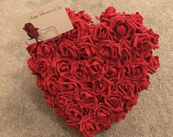 Valentine's Day gift red roses heart tribute loved ones