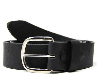Black Leather Snap Belt: Black Men's Belt Women's Belt Real Leather Belt