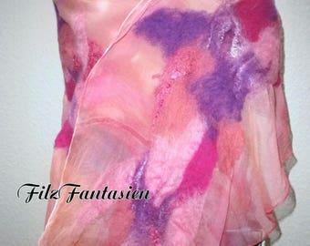 Scarf, silk scarf, scarf, chiffon scarf, befilzter scarf, felted scarf in pink and lilac