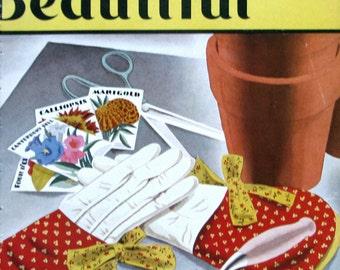1933 House Beautiful Magazine Cover Art - Spring Gardening Art, Garden gloves, Seed Packets - LW Cook Art