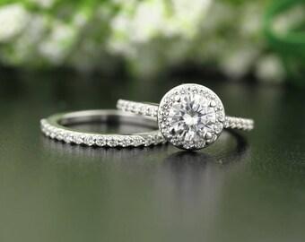 Forever One Moissanite Colorless 14K White Gold Halo Engagement Ring Band Set,Gem1471