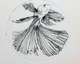 Beta Fish print, Fish illustration, beta fish,beta fish print, nautical art, nautical print, nautical fish, intaglio print, art for him, her
