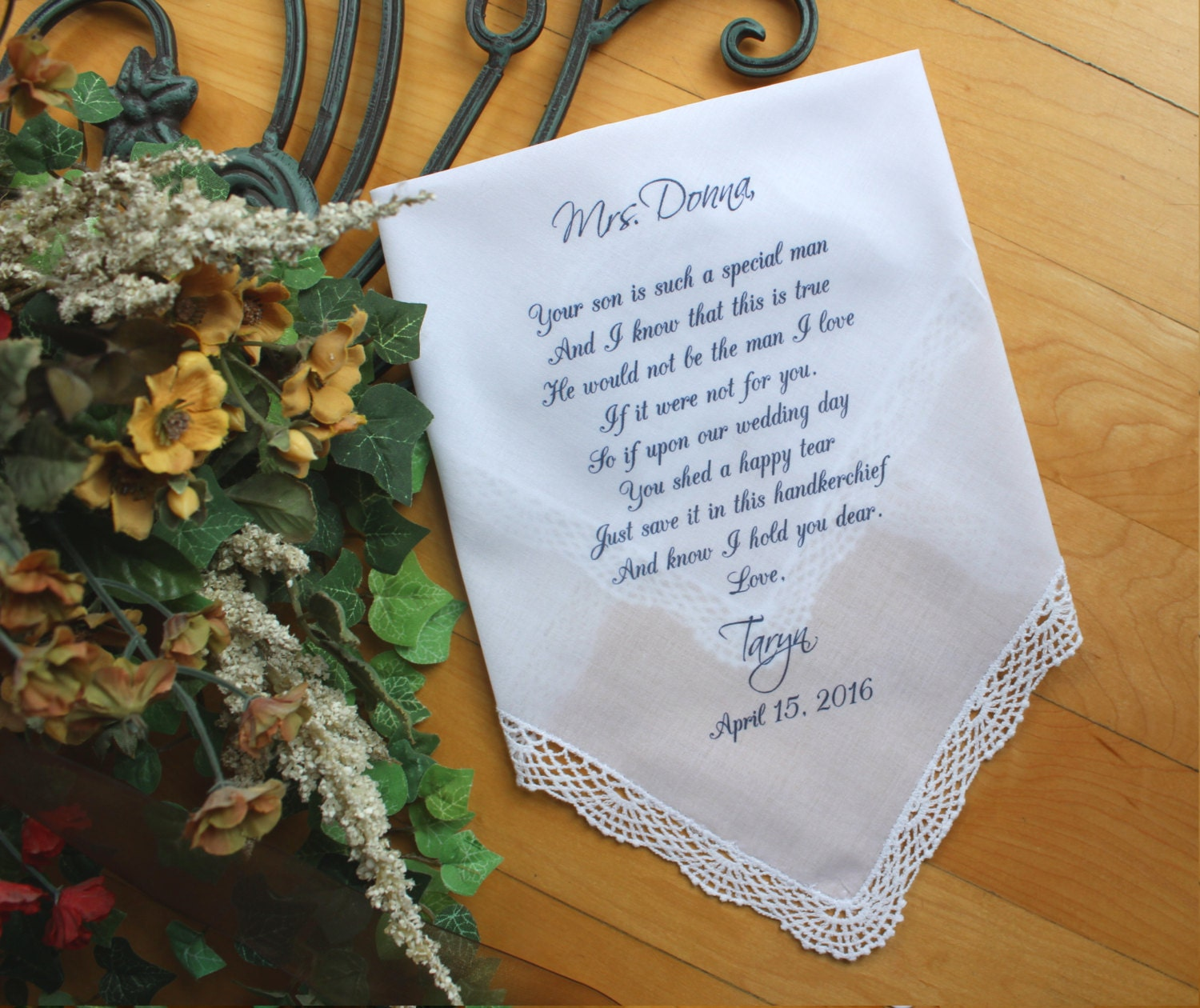 Personalised handker Mother of the Bride gift Mother of the Bride handkerchief