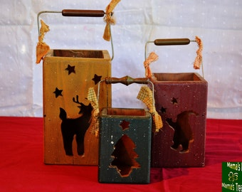 Wooden, Christmas, Candle, Holders, Gifts