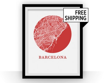 Barcelona Map Print - City Map Poster