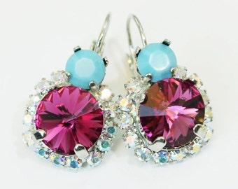 Aqua Pink Earrings Fuchsia Turquoise Earrings Malibu Blue Magenta AB Drop Halo Earrings, Leverback Swarovski Crystals Silver finish,SE102