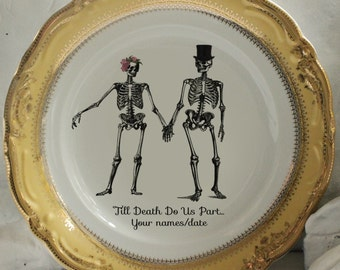 YOUR NAMES & DATE Skeleton Wedding Plate, Bride and Groom Dish, Till Death Plates, Skull Wedding Dishes, Halloween Wedding, Til Death Plate