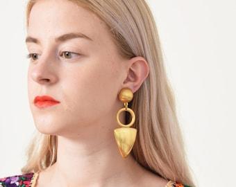 1980s Geometric Drop Earrings 80s Vintage Oversize Gold Earrings