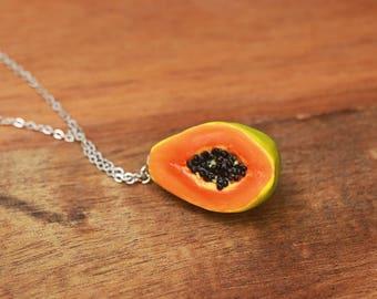 Summery Papaya Necklace - Fruit Jewelry - Fruit necklace - Miniature Food Jewelry, Food Jewelry