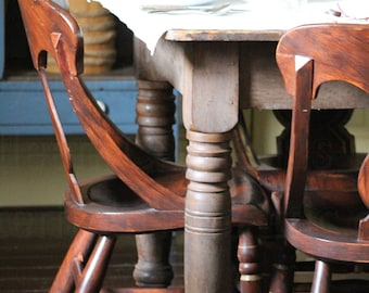 Antique Photograph, Old Wood Kitchen Table with Ox Blood paint and Matching Chairs, Country Kitchen Home Decor