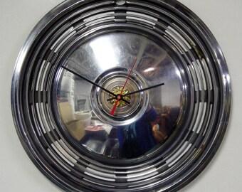 Pontiac Hubcap Clock - 1973 - 1974 Grand Ville Grand Safari Hub Cap - Recycled Classic Car Wall Decor - Sun Design - SALE