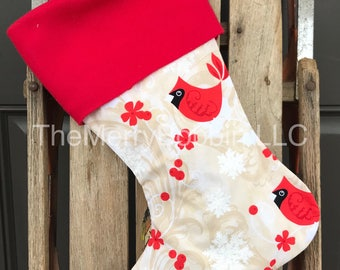 Farmhouse Stocking, Red Cardinals Christmas Stocking, Cardinals Stocking, Rustic Stocking, Cream Stiocking, Farmhouse Stocking