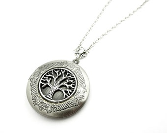 Forest Locket - Tree of Life Locket Necklace - Woodland Picture locket - Silver Locket Pendant - Picture Locket - Gift Idea for her