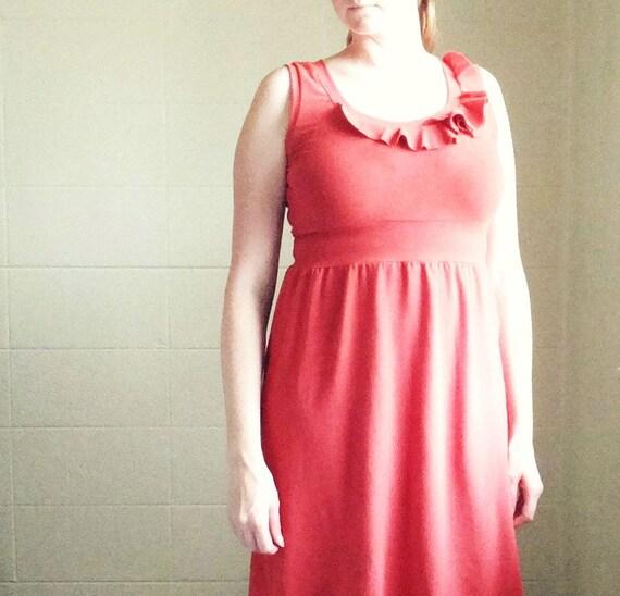 Womens cotton jersey dress sleeveless empire waist tank dress Ruffle Collar, knee length Holiday Party Dress spring fashion Made to Order