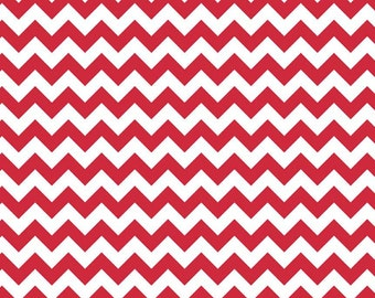 CLEARANCE - Riley Blake Knit Small Chevron Red - 1/2 Yard - SALE