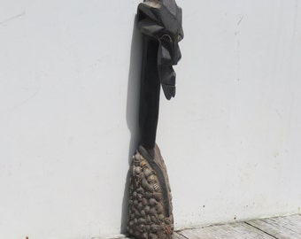 Authentic Carved African  Wooden And Tin Statue
