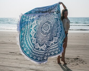 Mandala Throw Mandala Beach Towel Large Roundie Round Fringe Towel Large Beach Sheet