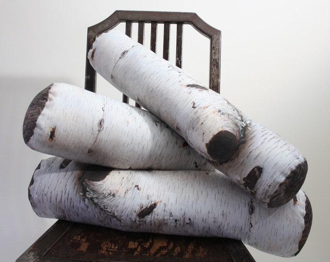 Birch Tree Log pillow - made to order - decorative pillow - log decor - woodland