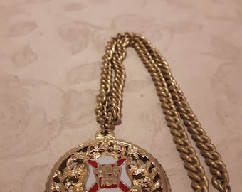 """Vintage Signed CORO Gold Tone and Maltese Cross Pendant Necklace - 18"""" - Mid-Century - 1960s - Anniversary/Birthday/Mother's Day"""