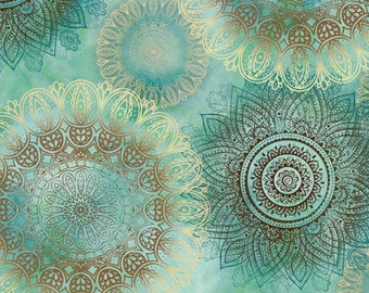 Quilting Treasures - Arabesque - Floating Medallions - Aqua - Fabric by the Yard 24645-Q