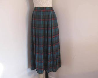 Vintage Skirt Plaid and Pleated Skirt Modest Skirt by Allan Edwards size 12