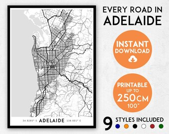 Adelaide map print, Adelaide print, Adelaide city map, Australia map, Adelaide poster, Adelaide wall art, Map of Adelaide, Adelaide art