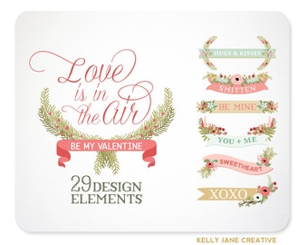Valentine Laurels, Banners, & Florals Vector Clip Art - Blog Graphics