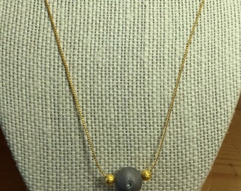 Simple gold plated Natural Druzy Agate Necklace