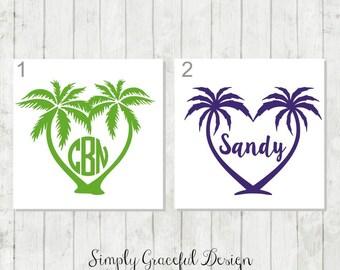 Palm Tree Monogram Decal, Palm Tree Decal, Beach Decal, Monogram Vinyl Decal