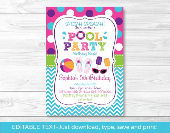 Girls Pool Party Invitation / Pool Party Invitation / Pool Party Invite /  Summer Party / Girl Birthday / INSTANT DOWNLOAD Editable PDF A406