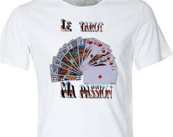 white t-shirt with a tarot deck