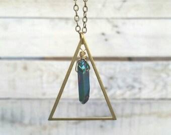 Crystal necklace, triangle necklace, brass necklace, boho jewelry