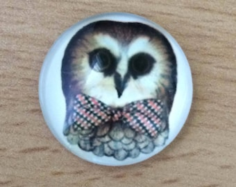 pretty OWL pattern glass cabochon pendant