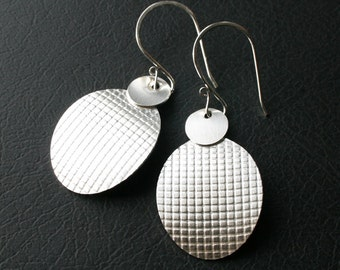 Sterling Silver Earrings - Long Dangle Patterned Design Earrings - Modern Stylish Handmade