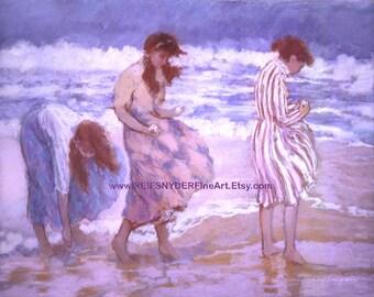 Beach print of three women on the seashore 8x10, girls in surf, blue, pink, ocean, beach scene, art, shore, friends, girlfriends, sisters